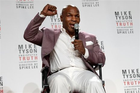 "Former heavyweight champion Mike Tyson gestures as he talks about the Broadway debut of his one-man show ""Mike Tyson: Undisputed Truth"" duri"