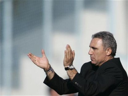 Hristo Stoichkov of Bulgaria claps during their Spanish First Division soccer match against Deportivo Coruna at Vigo's Balaidos stadium Apri