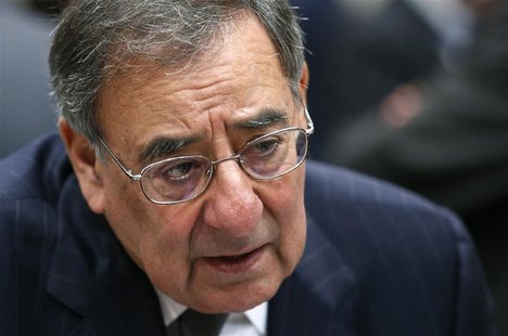 U.S. Defense Secretary Leon Panetta speaks during a NATO defence ministers meeting at the Alliance headquarters in Brussels October 10, 2012