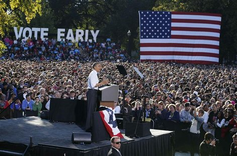 U.S. President Barack Obama speaks at a campaign event in The Oval at Ohio State University in Columbus, Ohio October 9, 2012, ending a thre