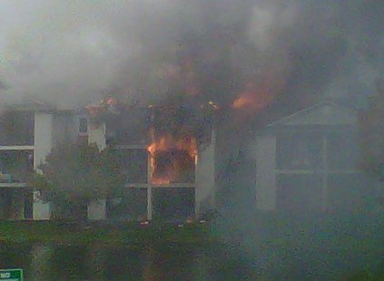Closer angle of a fire burning at Clearview Apartments in Holland on Wednesday October 10th, 2012.