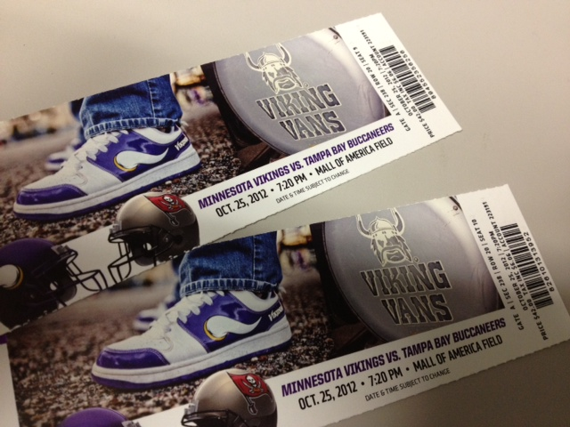 Vikings vs. Tampa Bay Bucs...October 25th Thursday Night Football.  We have tickets.  Who wants them?