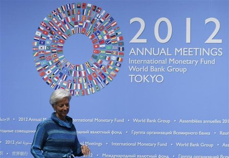 International Monetary Fund (IMF) Managing Director Christine Lagarde arrives at a news conference at the annual meetings of the IMF and the