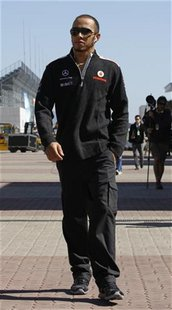 McLaren Formula One driver Lewis Hamilton of Britain arrives ahead of the South Korean F1 Grand Prix at the Korea International Circuit in Y