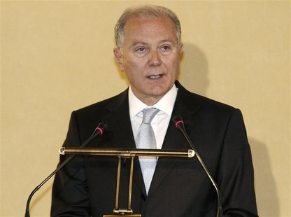Bank of Greece Governor George Provopoulos delivers a speech during an annual shareholders meeting in Athens April 18, 2011. REUTERS/Yiorgos
