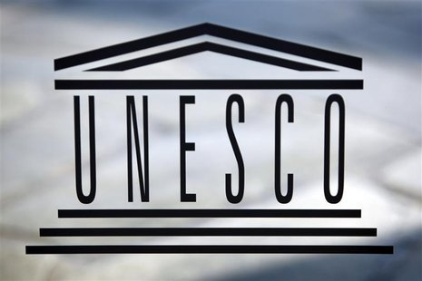 The logo of the UNESCO is seen inside at the headquarters in Paris on September 22,2009. REUTERS/Charles Platiau