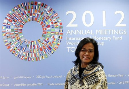 World Bank Managing Director Sri Mulyani Indrawati smiles during an interview with Reuters at the Annual Meetings of the International Monet