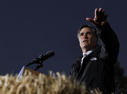Republican presidential nominee Mitt Romney speaks during a campaign stop at the Shelby County Fairgrounds in Sidney, Ohio October 10, 2012.