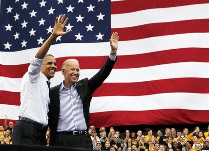 U.S. President Barack Obama and U.S. Vice President Joseph Biden attend a campaign event at the University of Iowa's Jessup Hall Lawn in Iow