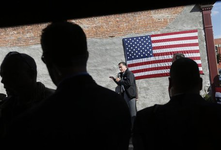 Republican presidential nominee Mitt Romney speaks during a campaign stop at Bun's Restaurant in Delaware, Ohio October 10, 2012. REUTERS/Sh
