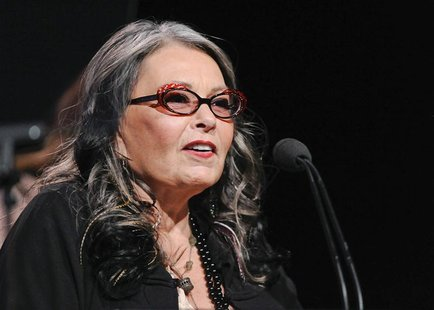 "Actress and reality show personality Roseanne Barr from the television show ""Roseanne's Nuts"" addresses the media during the Lifetime channe"