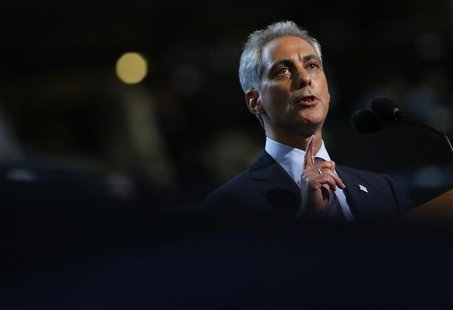 Chicago Mayor and former Obama administration official Rahm Emanuel addresses the first session of the Democratic National Convention in Cha