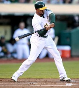 Oakland Athletics' CF Coco Crisp, who drove in the winning run Thursday morning against Detroit to win game 4 of the ALDS, 4-3.