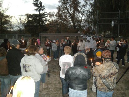 Candlelight vigil held 10/10/12 for Stephanie Low, who has been missing for two years.