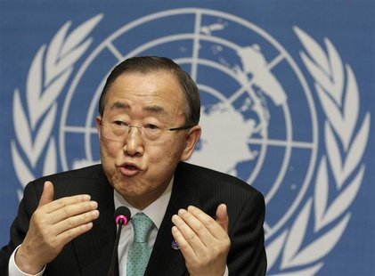 U.N. Secretary-General Ban Ki-moon addresses a news conference at the United Nations in Geneva April 12, 2012. REUTERS/Denis Balibouse