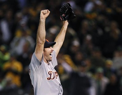 Detroit Tigers pitcher Justin Verlander celebrates after they defeated the Oakland Athletics during the ninth inning of Game 5 in their MLB