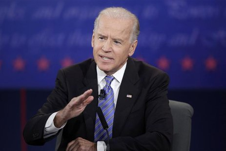 U.S. Vice President Joe Biden answes a question during the vice presidential debate with Republican vice presidential nominee Paul Ryan (not