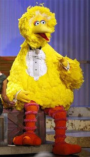 Sesame Street character Big Bird sits onstage before accepting a lifetime achievement award at the 36th Annual Daytime Emmy Awards at the Or