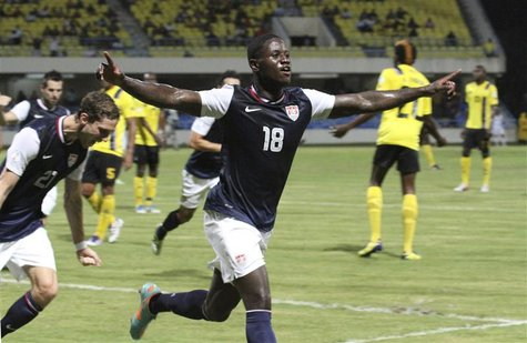 Eddie Johnson of the U.S. celebrates after scoring a goal against Antigua and Barbuda during their 2014 World Cup qualifying soccer match in