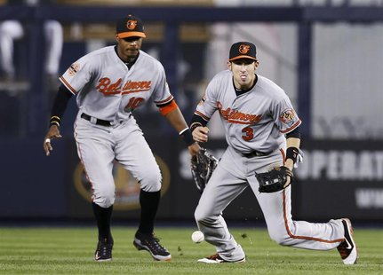 Baltimore Orioles second baseman Ryan Flaherty (R) drops a fly ball hit by New York Yankees' Russell Martin as Orioles center fielder Adam J