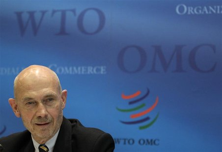 World Trade Organization Director General Pascal Lamy addresses a news conference on annual trade forecast and statistics at the WTO headqua