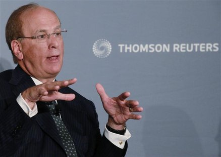 "Laurence Fink, chairman and chief executive officer of BlackRock, speaks at the Reuters Insider ""The New Wall Street"" Newsmaker in New York"
