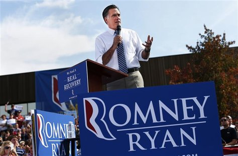 Republican presidential nominee Mitt Romney speaks during a campaign rally at Shawnee State University in Portsmouth, Ohio October 13, 2012.