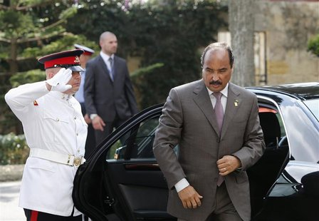 Mauritania's President Mohamed Ould Abdel Aziz arrives for the second day of talks during a summit of Mediterranean neighbours at Verdala Pa