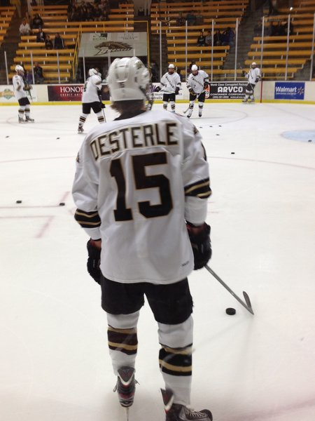 Western Michigan University player Jordan Osterle warms up prior to the St. Lawrence Saints game on Saturday 10/13/2012.