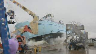 The R/V Sikuliaq is christened and launched from Marinette Marine Company's shipyard on Saturday, October 13, 2012. (courtesy of FOX 11).