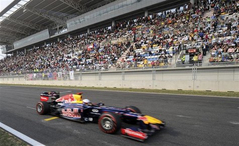 Red Bull Formula One driver Sebastian Vettel of Germany drives during the South Korean F1 Grand Prix at the Korea International Circuit in Y