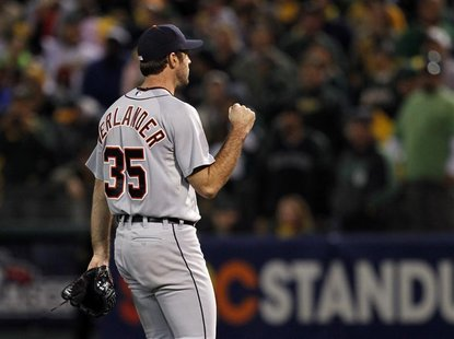 Detroit Tigers' Justin Verlander reacts after the third out against the Oakland Athletics during the eighth inning of Game 5 in their MLB AL