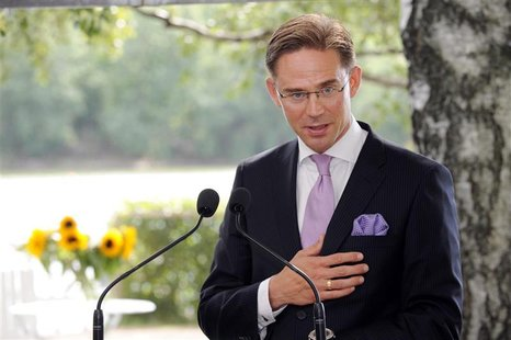 Finland's Prime Minister Jyrki Katainen speaks at a news conference during his Italian counterpart Mario Monti's visit to Finland, at the Fi