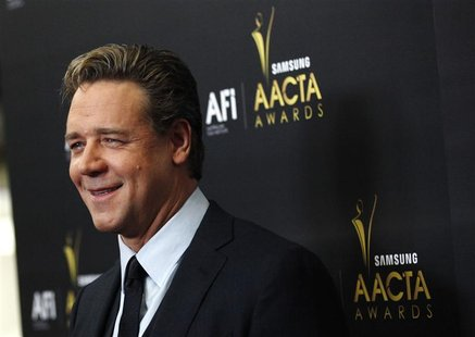 Actor Russell Crowe poses at the Australian Academy of Cinema and Television Arts Awards in West Hollywood, California January 27, 2012. REU
