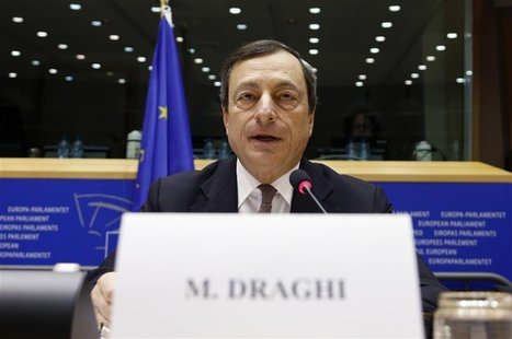 European Central Bank (ECB) President Mario Draghi speaks at the European Parliament's Economic and Monetary Affairs Committee in Brussels O