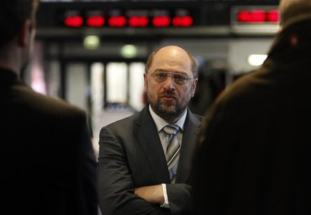 European Parliament President Martin Schulz answers questions during a Reuters interview in Berlin October 15, 2012. REUTERS/Tobias Schwarz