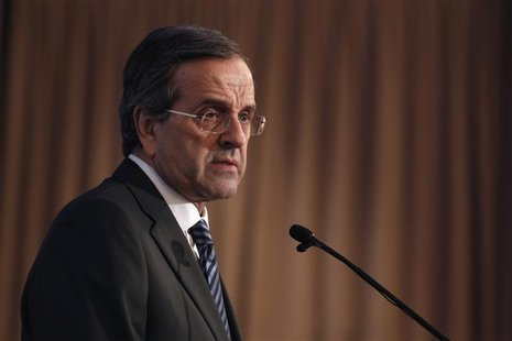 Greece's Prime Minister Antonis Samaras addresses the audience during an investment forum in Athens October 15, 2012. REUTERS/Yorgos Karahal
