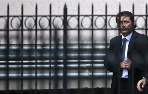 The captain of the Costa Concordia Francesco Schettino leaves at the end of the preliminary hearings in Grosseto October 15, 2012. REUTERS/M