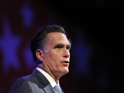 Republican presidential candidate and former Massachusetts Governor Mitt Romney addresses the American Legion's national convention in India