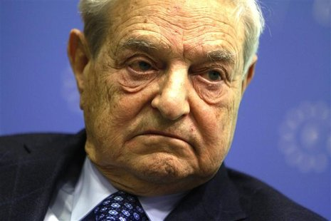 Soros Fund Management Chairman George Soros waits to deliver a speech at the Central European University in Budapest, November 3, 2011. REUT