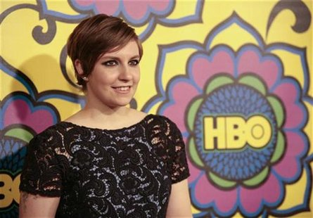 "Actress Lena Dunham, of the comedy series ""Girls"", arrives at HBO's post award reception following the 64th Primetime Emmy Awards in West Ho"