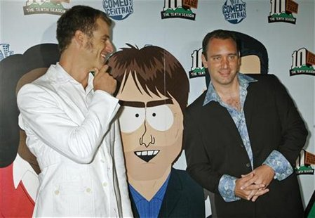 "Matt Stone (L) and Trey Parker, creators of the television animated series ""South Park"", arrive for the South Park The Tenth Season party in"