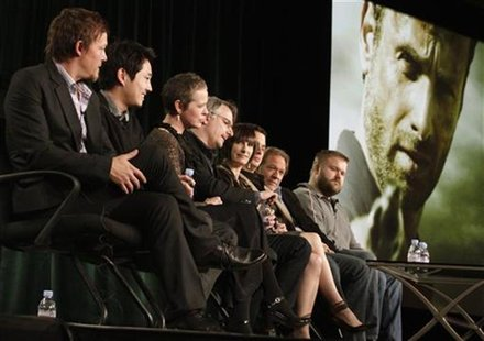 "Cast members and producers of ""The Walking Dead"" take part in a panel discussion at AMC's TCA Winter Press Tour in Pasadena, California, Jan"