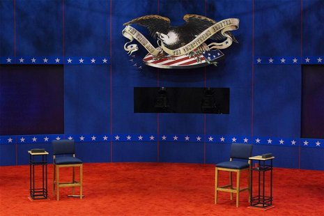 Two chairs that will be used by U.S. President Barack Obama and Republican presidential nominee Mitt Romney sit empty during preparations fo