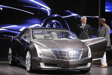The Cadillac Converj Concept is on display at the LA Auto show in Los Angeles, California in this December 3, 2009 file photograph. The prod