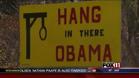 Obama sign in Redgranite (courtesy of FOX 11).