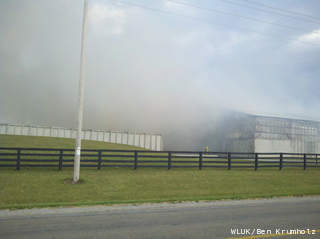 Smoke covers the Rosendale Dairy as crews battle a fire at the farm, Oct. 16, 2012. (courtesy of FOX 11).