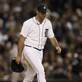 Detroit Tigers starting pitcher Justin Verlander walks off the mound at the end of the sixth inning against the New York Yankees during Game