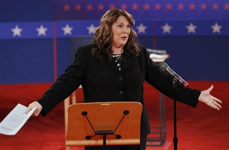 Debate moderator Candy Crowley speaks to the audience before the start of the second U.S. presidential campaign debate between Republican pr