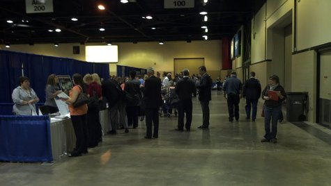 Job seekers looking for work at the Bay Area Career Expo at Shopko Hall on Wednesday October 17, 2012.